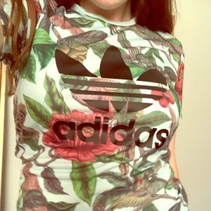 Floral Adidas t shirt